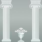 Classical greek or roman columns and vase