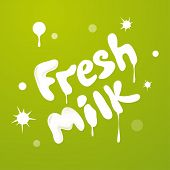 Milky texture text isolated on green background