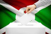 Voting Concept - Ballot Box With National Flag On Background - Burundi