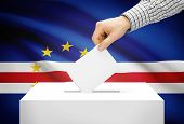Voting Concept - Ballot Box With National Flag On Background - Cape Verde