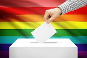 Voting Concept - Ballot Box With National Flag On Background - Lgbt Flag
