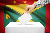 Voting Concept - Ballot Box With National Flag On Background - Grenada