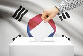 Voting Concept - Ballot Box With National Flag On Background - South Korea