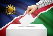 Voting Concept - Ballot Box With National Flag On Background - Namibia