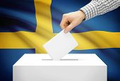 Voting Concept - Ballot Box With National Flag On Background - Sweden