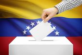 Voting Concept - Ballot Box With National Flag On Background - Venezuela