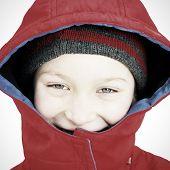 Happy Kid In Winter