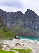 Paradise Kvalvika Beach On Lofoten Islands In Norway