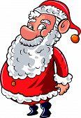 Cartoon smiling happy Santa in red