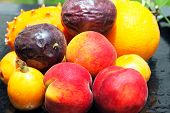 Exotic Fruits: Orange, Kiwano, Loquat, Peach And Passionfruit