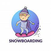 Vector cartoon snowboarder