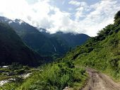 Dirt Road In Green Lower Himalayas
