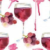 Bright watercolor wine seamless pattern