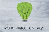 Lightbulb Made Of Leaves, Concept Of Green Economy
