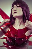 science fiction art, Japanese manga-style women dressed in red glass armor