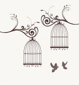 image of caged  - vector vintage bird cages and two doves - JPG