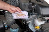 Comprobación de nivel de aceite de motor de coche