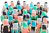 picture of gathering  - Social Gathering Digital Tablet Communication Society Concept - JPG
