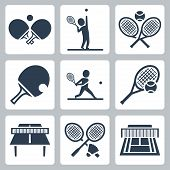 image of badminton player  - Court tennistable tennis and badminton related vector icons set - JPG