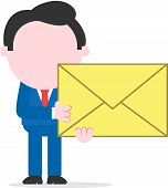 foto of faceless  - Cartoon faceless businessman standing holding big mail icon with both hands - JPG