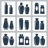 pic of containers  - Cosmetic containers vector icons set over white - JPG