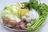 pic of shabu  - Sukiyaki mixed vegetables meat combinations are set on a plate - JPG