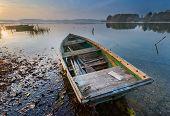 pic of tranquil  - Beautiful sunrise over lake - JPG