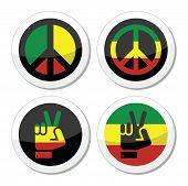 pic of rastafari  - Rastafarian peace round symbols isolated on white - JPG