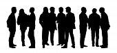 foto of ordinary woman  - black silhouettes of three groups of different people standing and talking to each other - JPG