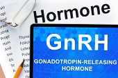 picture of hormones  - Papers with hormones list and tablet  with words Gonadotropin - JPG
