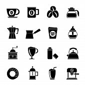 image of sugar industry  - Silhouette different types of coffee industry icons  - JPG
