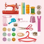 stock photo of sewing  - Supplies and accessories for sewing on colorful background - JPG