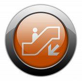 foto of escalator  - Icon Button Pictogram with Escalator Down symbol - JPG