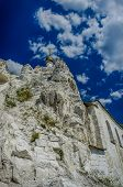 stock photo of rock carving  - Orthodox cathedral carved out of natural rock Russia Voronezh region museum Divnogorie - JPG