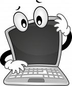 pic of tilt  - Mascot Illustration of a Confused Laptop with its Head Tilted to the Side - JPG