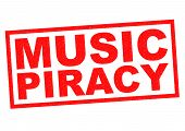 picture of plagiarism  - MUSIC PIRACY red Rubber Stamp over a white background - JPG