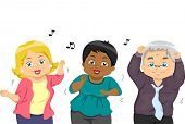 pic of geriatric  - Illustration of a Group of Senior Citizens Dancing to a Tune - JPG