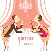 image of lovers  - Retro party illustration with couple lovers - JPG