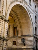stock photo of arcade  - Front view of a building arcade of Santander city  - JPG