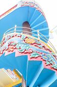 picture of spiral staircase  - Bottom to top view of a spiral staircase of a monastery - JPG