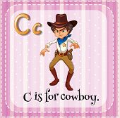 picture of cowboy  - Flashcard letter C is for cowboy - JPG