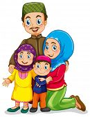 pic of muslim kids  - Muslim family with father and mother - JPG