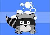 stock photo of raccoon  - little raccoon cartoon background in vector format very easy to edit - JPG