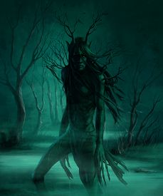 stock photo of ghoul  - monster in the swamp at night - JPG