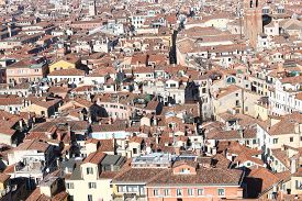 image of overpopulation  - Venice Italy many houses seen from the campanile di san marco - JPG
