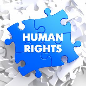 foto of human-rights  - Human Rights on Blue Puzzle on White Background - JPG