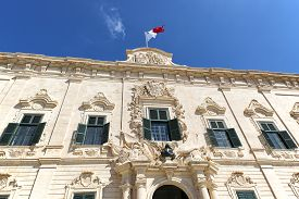 stock photo of prime-minister  - The lovely proportionate Auberge de Castille is a baroque palace in Valletta  currently the offices of the Prime Minister of Malta - JPG