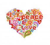 stock photo of hippy  - Print with colorful hippie floral heart - JPG