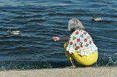 image of beautiful senior woman  - Happy beautiful senior woman in the autumn park with ducks - JPG