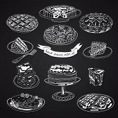 Постер, плакат: Vector collection of pie cakes and sweets icons